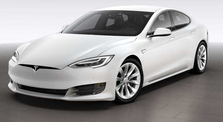 Coche Tesla Model S, color blanco o gris claro