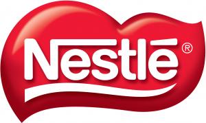 Logotipo de Nestlé, letras blancas sobre una nube roja intensa. Empresa utilizada para calcular el PER futuro y el beneficio de las compañías en bolsa.