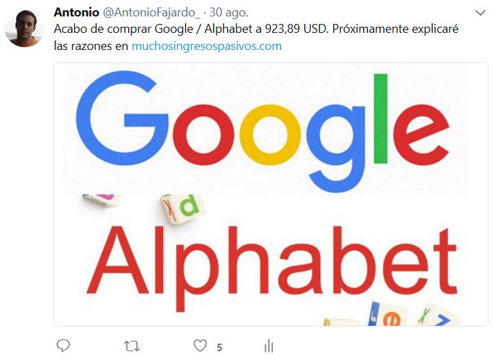 Compro acciones de Google / Alphabet a principios de septiembre de 2017