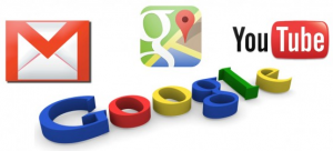 Logotipos de Gmail, Youtube, Google Maps y Google.