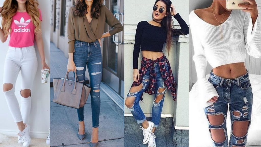 Varias modelos luciendo pantalones vaqueros rotos y remendados de moda