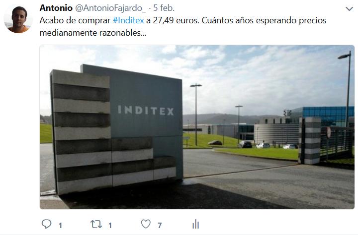 Mi tuit de principios de 2018 en el que aviso en directo de la compra de Inditex a 27,49 euros.