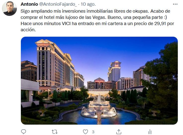 Mi tweet del 10 de agosto, informando de que compré acciones de la somici estadounidense VICI Properties a 29,91 dólares por acción